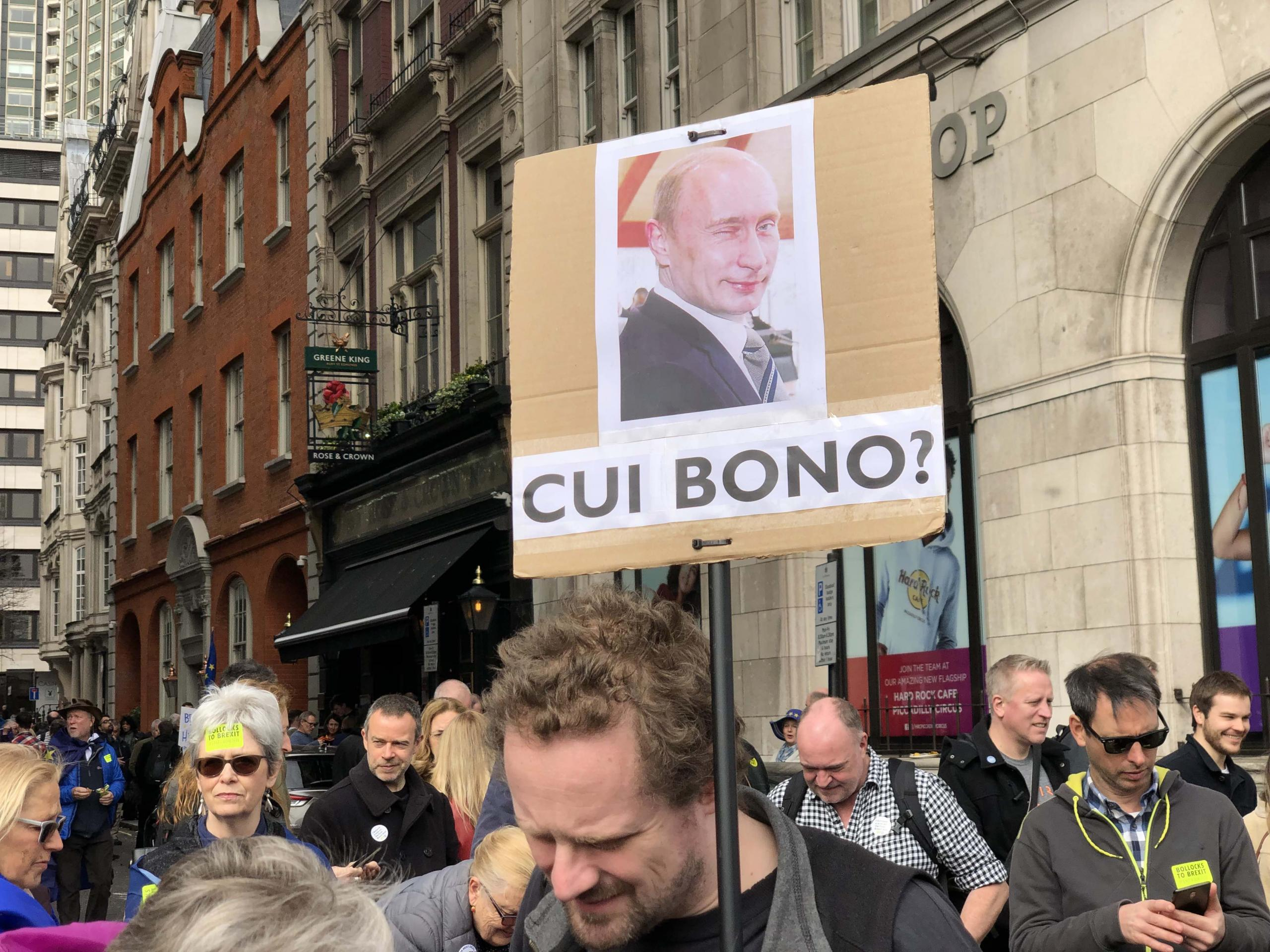 Brexit benefits Moscow. People's Vote March, London.