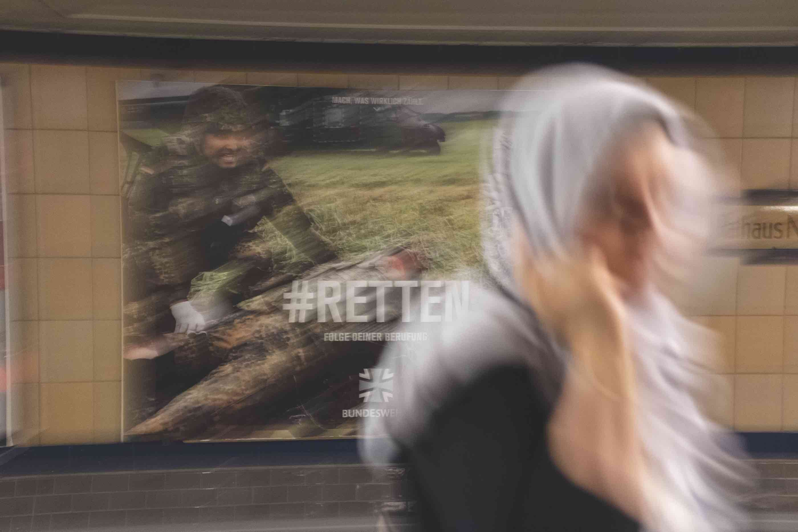 Military recruiting advert. Berlin, August 2019.