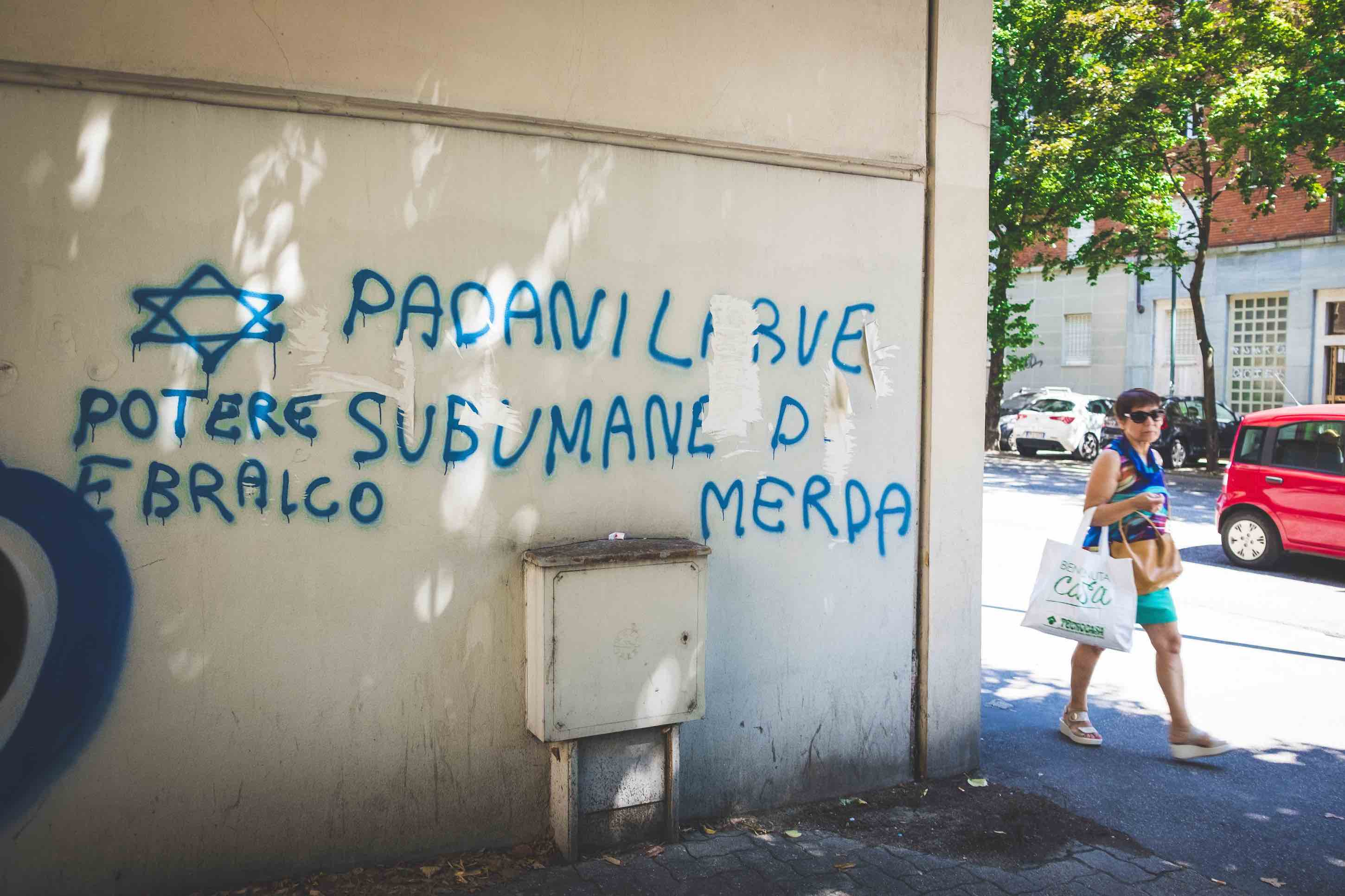 Antisemitic Lega graffiti. Turin, August 2019.