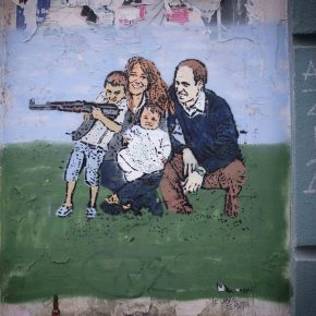 God save the Kalashnikov. Expat protest mural, Berlin.