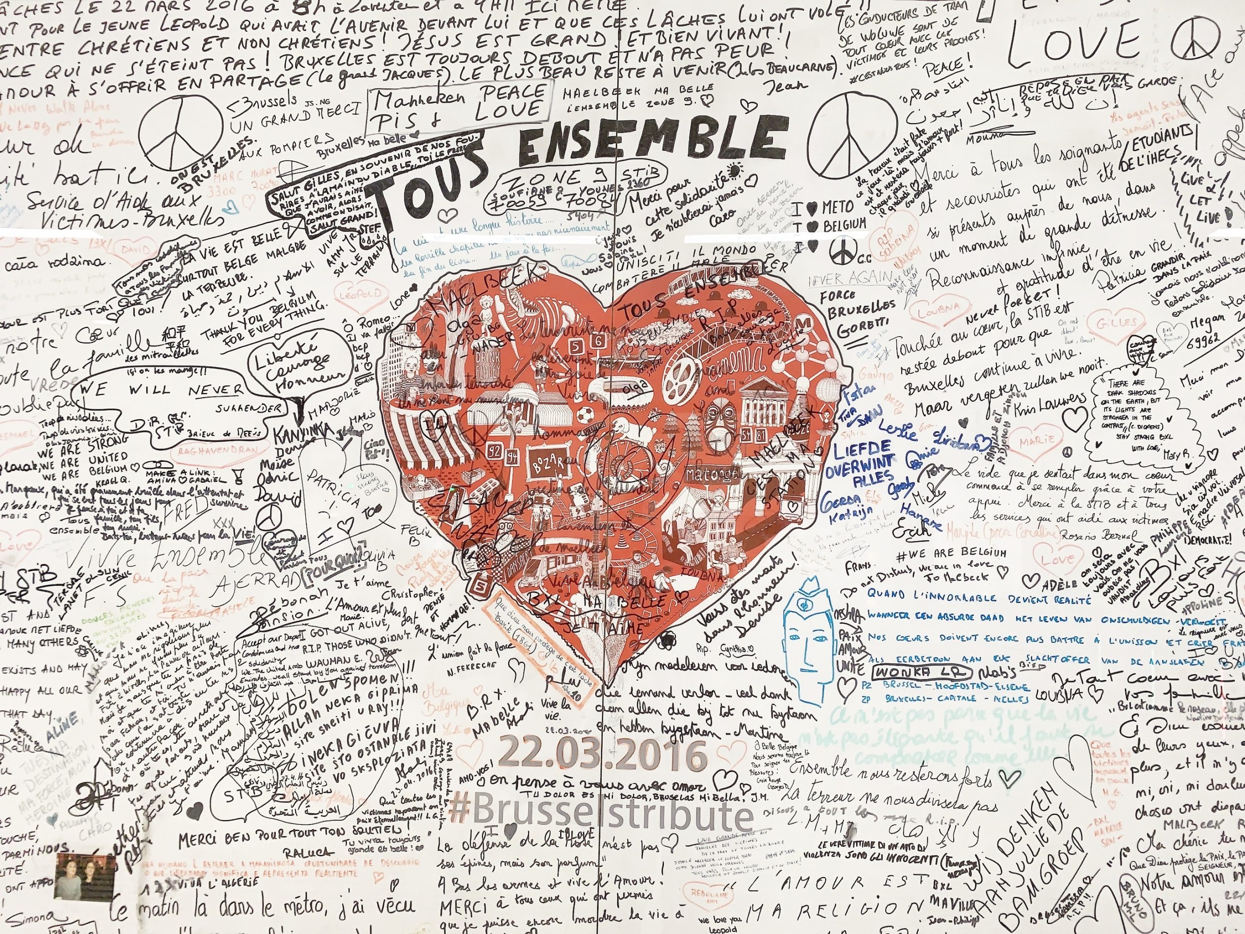 From Brussels with love. Maelbeek metro, memorial wall.