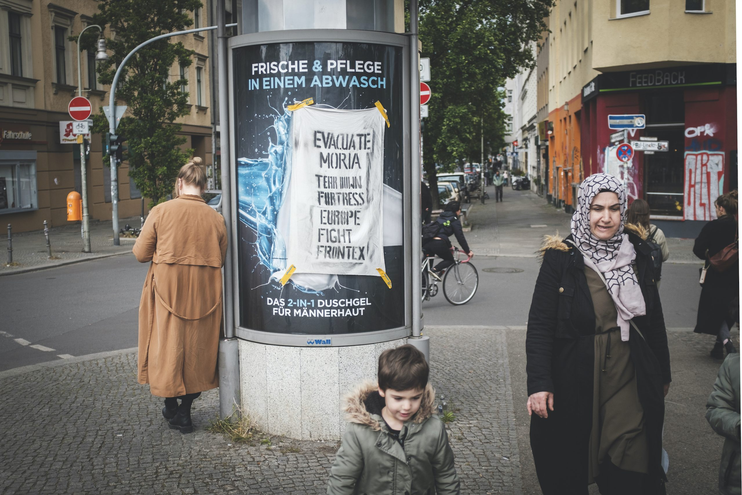 May Day refugee solidarity flyer. Kobtbusser Damm, Kreuzberg.